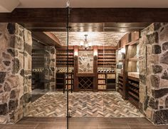 Relish the art that we create with every wine cellar and wine rack/system design from Papro Wine Cellars & Consulting. Browse our gallery online. Glass Wine Cellar, Wine Cellar Design, Wine Cellars, Caves, Wine Cellar Basement, Wood Wine Racks, Racking System, Restaurant Concept, Brick Flooring