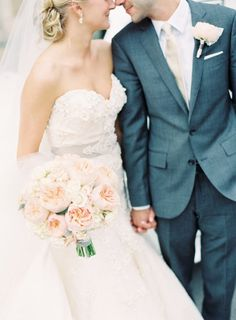 Great steel blue suit! J.Crew | Wedding Dress: Lazaro | Wedding Photography: Clary Photo