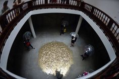 Shower of Gold Coins in Russian Pavilion at Venice Biennale