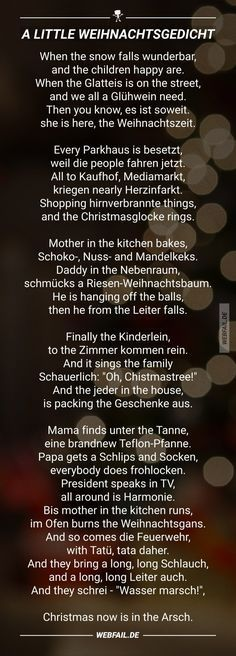 Funny poems at Christmas time - Memes - Weihnachten Funny Christmas Poems, Christmas Humor, Funny Poems, Funny Quotes, Life Quotes, Little Christmas, Christmas Time, German Christmas, Christmas Ideas