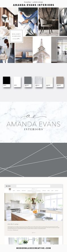 Branding and website design for interior designer Amanda Evans Interiors.  Modern Luxe Creative is a boutique design studio creating carefully crafted brands and websites that turn heads.