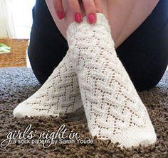 Ravelry: Girls' Night In Socks pattern by Sarah Youde Loom Knitting, Knitting Socks, Hand Knitting, Knitting Patterns, Knit Socks, Knitting Needles, Lace Socks, Crochet Slippers, Knit Crochet