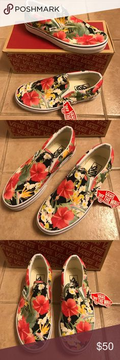 NWT: Van's Sneakers Open To Offers; New with the tags attached and box included  Mens Size 6 , Women's Size 7.5 Multi Color Floral Print Vans Shoes Sneakers