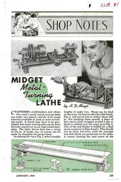 Plans for a Midget Metal Turning Lathe, Popular Mechanics, circa January page 125 Cool Tools, Diy Tools, Skill Tools, Machinist Tools, Metal Workshop, Maker Shop, Metal Working Tools, Lathe Tools, Homemade Tools