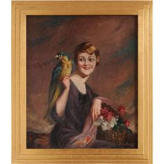 Art Deco Oil on Canvas by Pierre Mitiffiot De Bélair ❤ liked on Polyvore featuring home, home decor, wall art, art deco canvas wall art, canvas wall art, canvas home decor, art deco home decor and parrot wall art