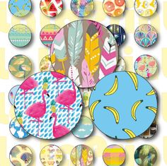 40 Sweet Print Digital Party Stickers Circles size 1'', 20mm, 16mm, 14mm, 12mm…