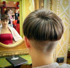 One of the nicest super short bowl haircuts I've seen. They really buzzed the hair from the nape up at least 4-5 inches.