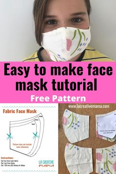 Learn how to make your own fabric face mask using materials you have at home. Easy and quick step by step tutorial. Great for beginner and advanced sewers. Sewing Patterns Free, Free Sewing, Free Pattern, Pocket Pattern, Fabric Patterns, Pattern Sewing, Skirt Patterns, Dog Pattern, Coat Patterns
