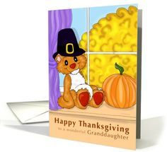 Thanksgiving Teddy - for granddaughter | Greeting Card Universe by Cold Snap Studio
