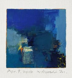 Apr. 9, 2016 - Original Abstract Oil Painting - 9x9 painting (9 x 9 cm - app. 4 x 4 inch) with 8 x 10 inch mat