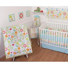 Sumersault Simple Circles Brights 9 Piece Nursery in a Bag Crib Bedding Set with BONUS Bumper