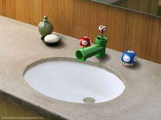 Super Mario Badezimmer Waschbecken Armaturen Super Mario Wastafelkranen Share your vote! Nerd Room, Gamer Room, Super Mario Room, Bathroom Sink Design, Bathroom Fixtures, Bathroom Sinks, Bathroom Ideas, Hall Bathroom, Budget Bathroom
