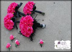 Hot Pink Silk Wedding Bouquet Wrapped in Black Ribbon Bridal and Bridesmaids Bouquet Set. $375.00, via Etsy.