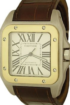 Cartier Santos 100 Automatic Winding Wrist Watch with Silvered Dial with black Roman numerals