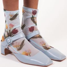 Partner with Soul Fire Farm Sock Shoes, Cute Shoes, Me Too Shoes, Corset Bustier, Mesh Socks, Blue Tulips, Socks And Heels, Socks With Sandals, Fashion Socks