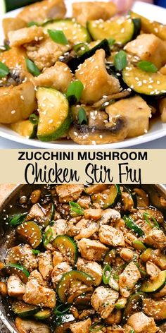 Zucchini Mushroom Chicken Stir Fry - Fresh and delicious chicken stir fry bursting with flavor in each and every bite! All you need is one skillet, 20 minutes, and just a handful of pantry ingredients Stir Fry Recipes, Paleo Recipes, Healthy Dinner Recipes, Cooking Recipes, Healthy Mushroom Recipes, Chicken Mushroom Zucchini Recipe, Stir Fry Meals, Easy Kung Pao Chicken Recipe, Healthy Soup