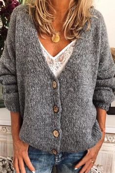 Casual Cotton-Blend V Neck Cardigan-Outerwear, Gray / XL Pullover Outfit, Pullover Mode, V Neck Cardigan, Long Sleeve Sweater, Sweater Cardigan, Jumper, Sweater Fashion, Sweater Outfits, Style Casual
