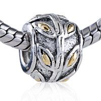 Pugster Golden Wheat Ear Two Tone Plated Style Pandora Bead