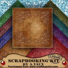 Floral Embossed Vintage Tea 8 Scrapbooking Papers Kit on Craftsuprint - Add To Basket!