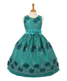 Look what I found on #zulily! Teal Floral Sleeveless Dress - Toddler & Girls by Shanil #zulilyfinds
