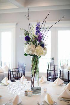 purple and white flower decorations #texas #wedding #aubreymariephoto