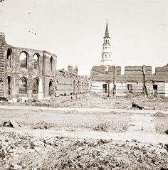 The ruins of Secession Hall in Charleston, South Carolina. The picture was taken in 1865 at the close of the Civil War. Much of the city was in ruins.