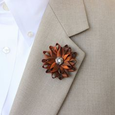 Orange Lapel Flower for Men Hand Dyed Orange by PetalPerceptions