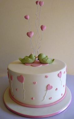 Love Birds by The Gallery Couture Cake. Like the hearts as if floating above the cake. Cake Icing, Fondant Cakes, Eat Cake, Cupcake Cakes, Pretty Cakes, Beautiful Cakes, Amazing Cakes, Rodjendanske Torte, Valentines Day Cakes