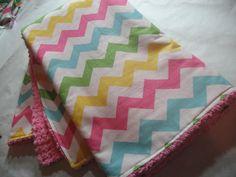 Baby Blanket Baby Chevron Stripes Pink Chenille Girls. $35.00, via Etsy.