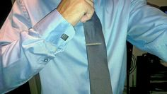 Blue shirt & Steel cufflinks 'n silver tie-pin