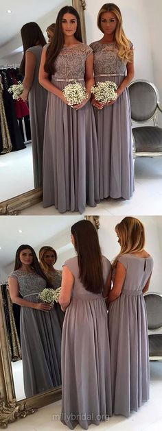 Lace Bridesmaid Dresses Long, 2018 Bridesmaid Dresses A-line, Scoop Neck Bridesmaid Dresses Chiffon Tulle