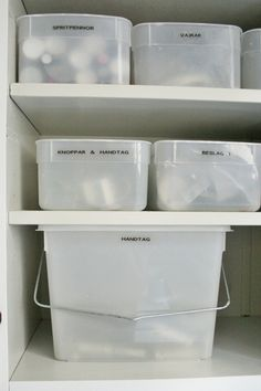 Benita reused a wallpaper paste tub, and it happens to nicely match the ice cream tubs she uses nearby for storage!