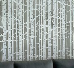 Birch tree stencil for painting wall