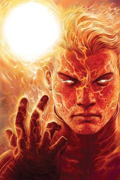 The original Human Torch, who fought in the second World War and was a member of the Invaders, is an artificial human created by Professor Phineas T. He is also (publishing-wise) the first ever Marvel super-hero! Marvel Comic Character, Comic Book Characters, Marvel Characters, Comic Books Art, Fantasy Characters, Comic Art, Character Art, Marvel Comics Art, Marvel Heroes