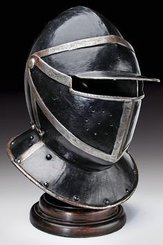 A black and white cuirassier's helmet,Germany, 17th century.