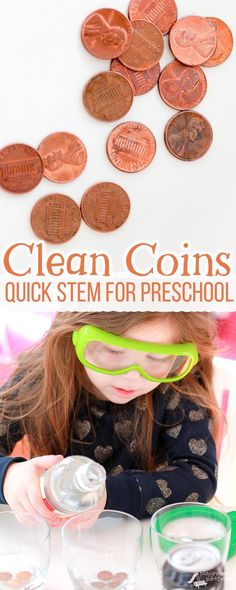 What liquid will clean coins best? A simple science experiment for preschoolers to introduce the scientific method - ask a question, make a guess, test, and review your results. | Preschool | STEM | STEAM | Science Project | Money | Kids Activities |
