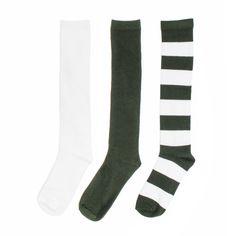Green + White 3-Pack Knee-High Socks