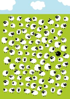 Spot the difference :  sheep : white white black white white