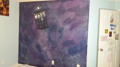 Olivia's Galaxy wall with Dr.Who Tardis
