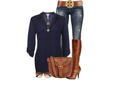 Blue blouse and jeans.