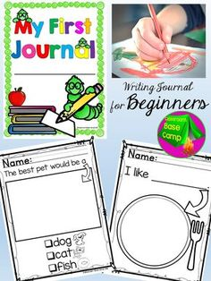 Writing Journal For Beginning Writers Writing Journal For Beginners These Writing Prompts Are Designed For Emerging Writers That Are Entering Kindergarten The Simple Prompts Give New Writers The Confidence To Complete The Writing Assignment Independently Kindergarten Writing Journals, Preschool Journals, Homeschool Kindergarten, Preschool Lessons, Kindergarten Literacy, Teaching Writing, Kindergarten Classroom, Writing Activities, Writing Skills
