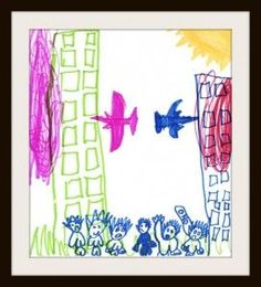 9/11 traumas   Child's drawing of disaster at World Trade Center