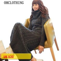 The new Europe and the United States winter womens wool dress thickening knit dress dress up a long time