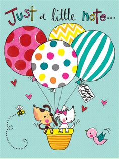 PK141 Just A Little Note - Dogs in Balloon - Packs of 5 - Rachel Ellen Designs – Card and Stationery Designers and Publishers