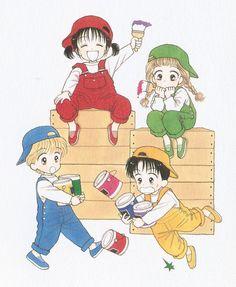 Miki, Meiko, Yuu, Ginta, personajes principales de Marmalade Boy, de Wataru Yoshizumi.