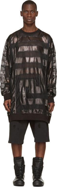 KTZ Black Oversized Mesh Intarsia T-Shirt