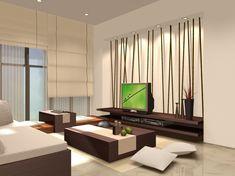 和洋テイストなリビングルーム☆ テレビボードに竹を挿したようなデザインが和モダンな雰囲気でとっても素敵。
