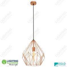 Copper Eglo Carlton Cage Pendant Light - Shop - Lighting Illusions Online