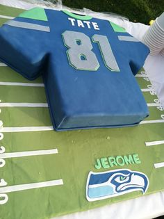 The cake from Romey's flag football party. Courtesy of Amabelle!