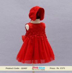 8f37ec0d8 Unique New Baby Girls Red Flower Christening Dress with Bonnet